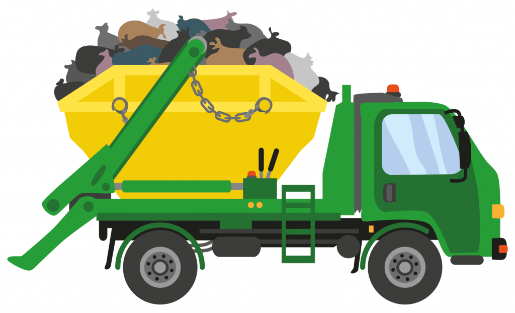 cheap skip bin hire cartoon green waste removal truck carrying green skip bin