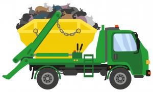 cartoon-green-waste-removal-truck-carrying-green-skip-bin