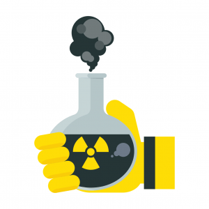 cartoon-hand-holding-flask-of-toxic-asbestos-chemicals