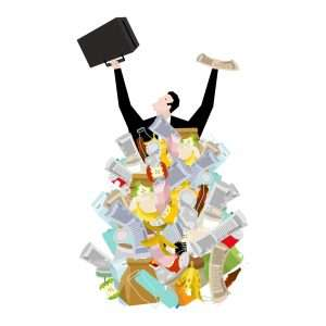 cartoon-man-holding-suitcase-surrounded-with-hard-waste