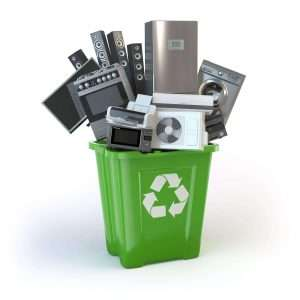 electronic-waste-disposal-green-bin-holding-old-broken-technology
