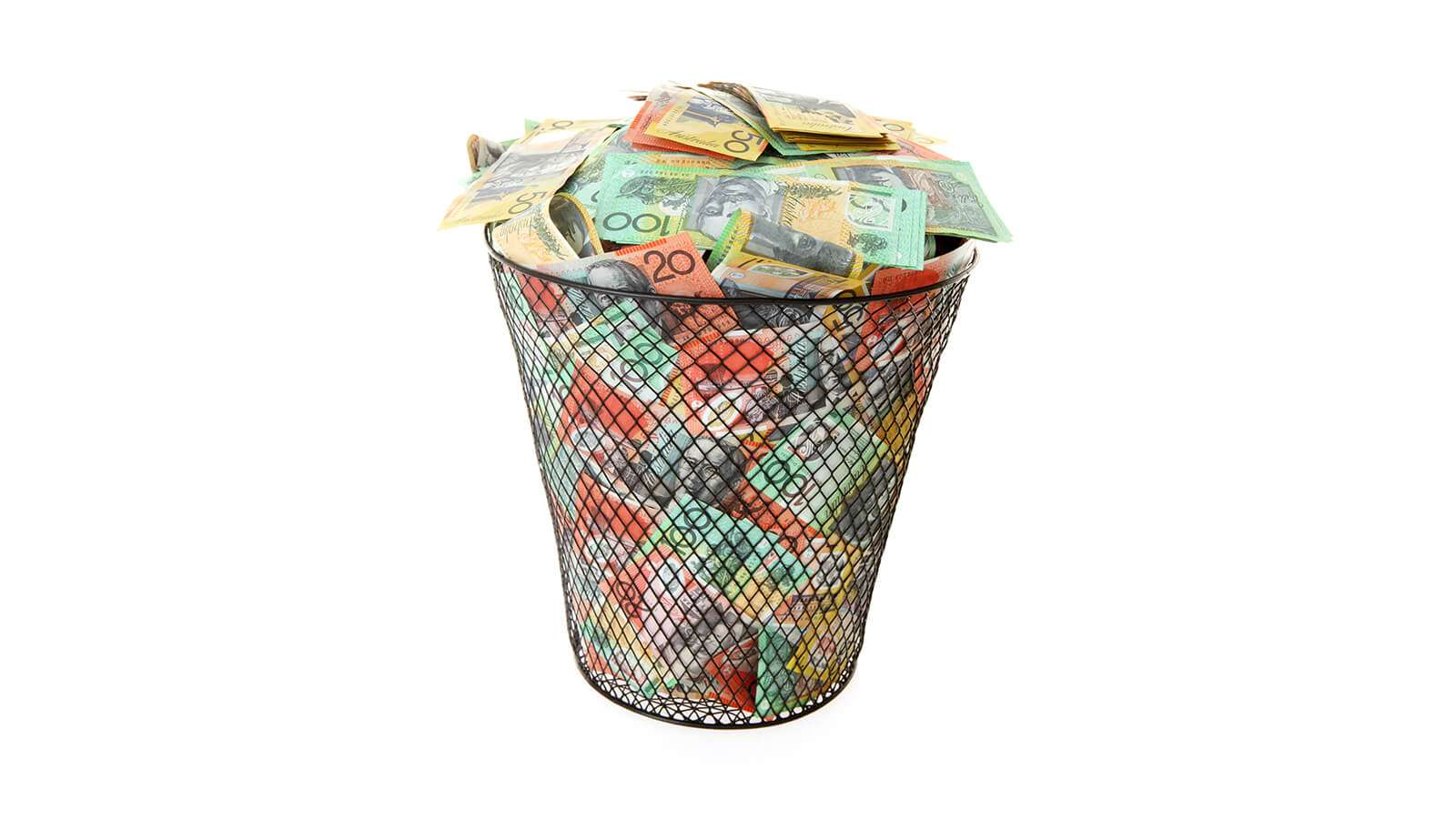 Wastepaper basket filled with Australian Money