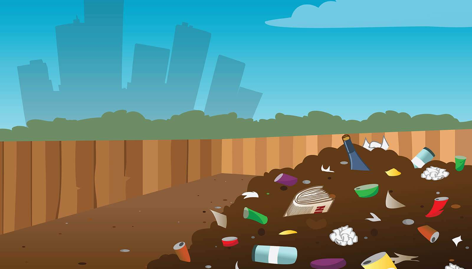 Cartoon vector illustration of a landfill